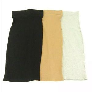 Naked Wardrobe Ribbed Stretch Skirt, S, New